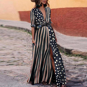 Maternity Fashion Striped V Neck Short Sleeve Dress
