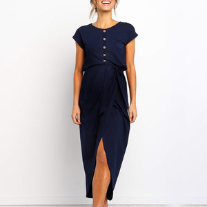 Maternity Casual Round Neck Short Sleeve Pure Colour Dress