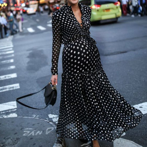 Maternity Casual Tie Collar Long Sleeve Polka Dot Dress