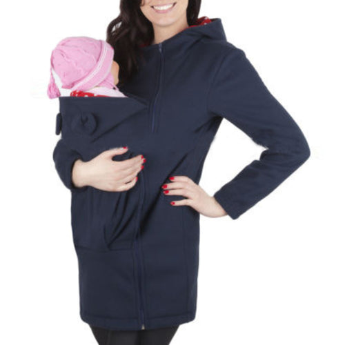 Maternity Pure Color Casual Long Sleeve Hoodie