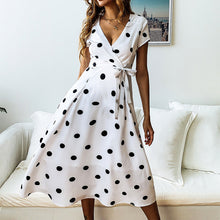 Load image into Gallery viewer, Maternity V-Neck Polka Dots Midi Dress