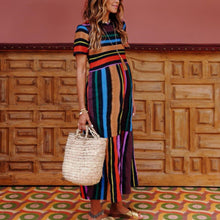 Load image into Gallery viewer, Maternity Short Sleeved Rainbow Striped Print Dress