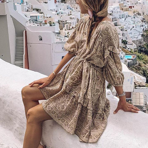 Maternity Bohemian V Neck Long Sleeve  Dress