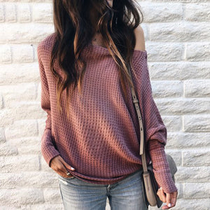 Maternity Off Shoulder Long Sleeve Pure Color Check Shirt