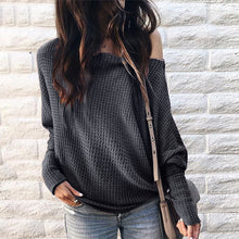 Load image into Gallery viewer, Maternity Off Shoulder Long Sleeve Pure Color Check Shirt