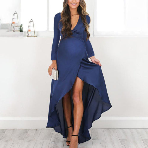 Maternity V-Neck Solid Color Irregular Dress