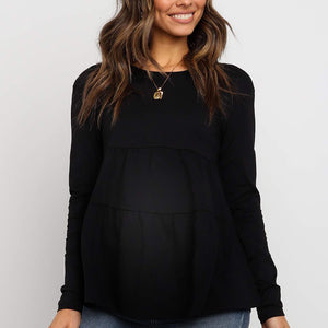 Maternity Solid Color Long Sleeve Patchwork T-shirts