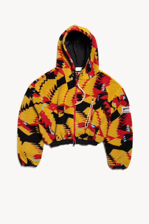 Abstract Cropped Fleece Hoodie