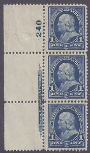 Scott #264 Mint plate block of 3 with imprint