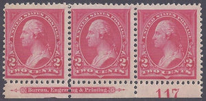 Scott #265 Mint plate block of 3 with imprint