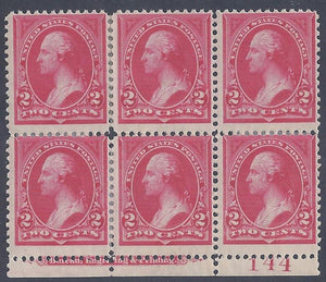 Scott #265 Mint plate block of 6 with imprint
