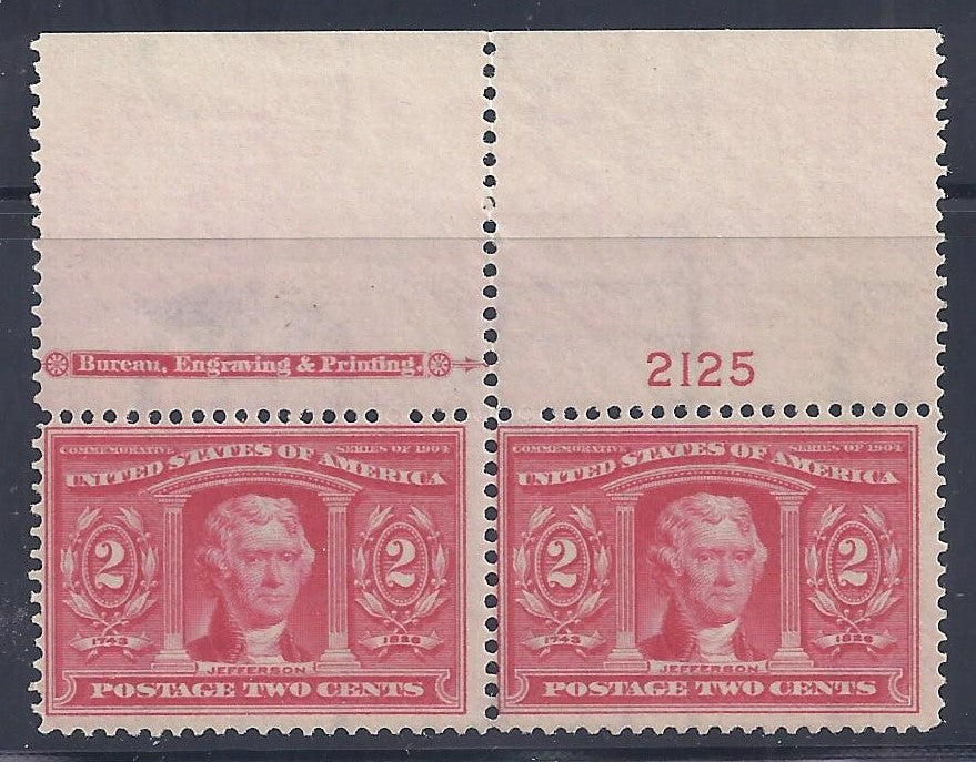 Scott#324 Mint pair NH OG F-VF with imprint and plate #