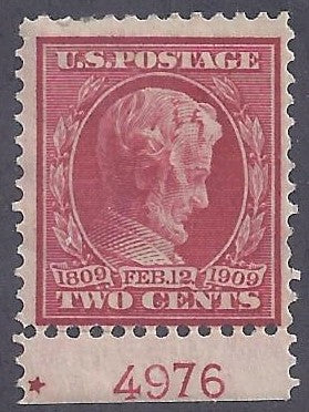 Scott #367 Mint with plate number PH OG F-VF