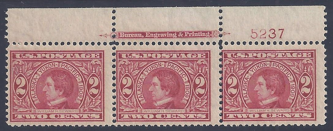 Scott #370 Mint plate block of 3 with imprint