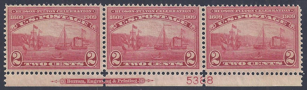 Scott #372 Mint plate block of 3 with imprint