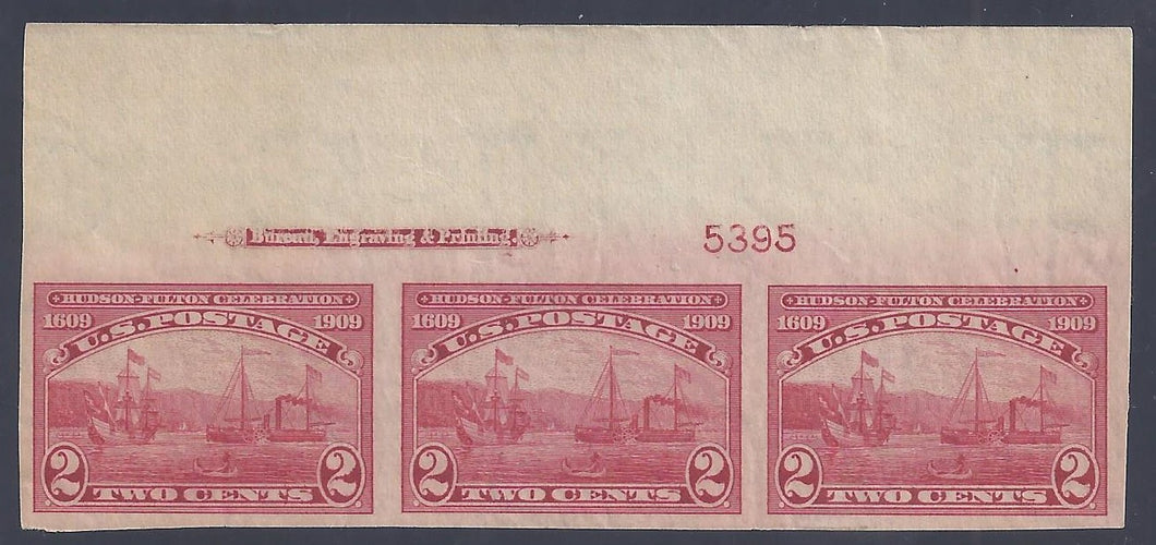 Scott #373 Mint plate block of 3 with imprint, imperforate