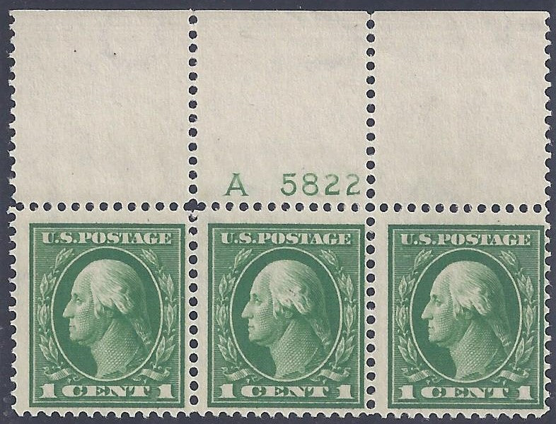 Scott #405 Mint plate block of 3
