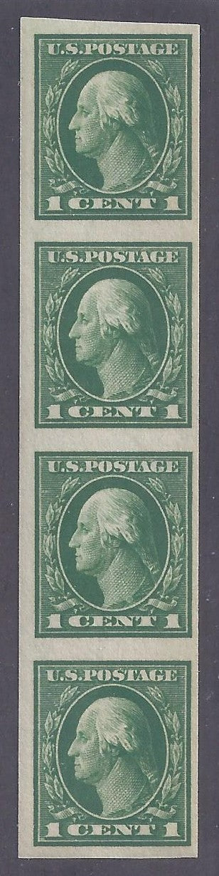 Scott #408 Mint Vertical strip of 4 NH OG VF