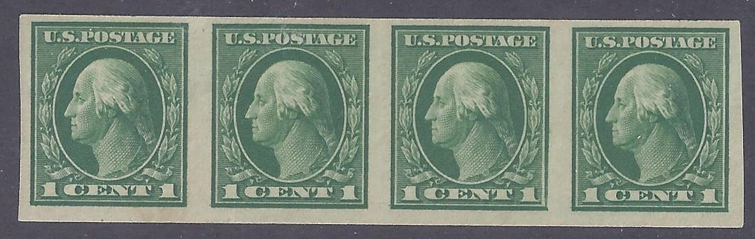 Scott #408 Mint horizontal strip of 4 LH OG VF
