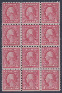 Scott #505 Mint block of 12, rare 5c error