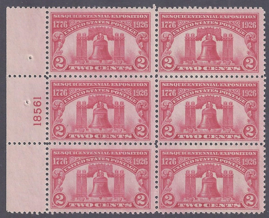 Scott #627 Mint plate block of 6