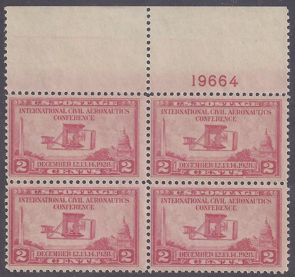 Scott #649 Mint plate block of 4