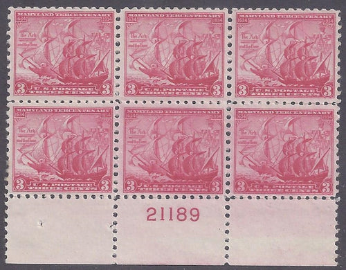 Scott #736 Mint plate block of 6