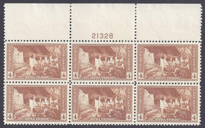 Scott #743 Mint plate block of 6