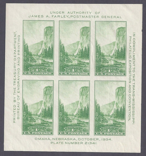 Scott #751 Mint imperforate plate block of 6
