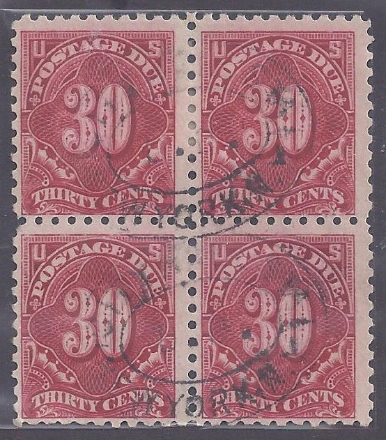 Scott # J57 Used block of 4