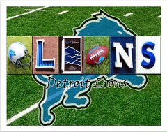Detroit Lions Word Art Poster Board 11x14