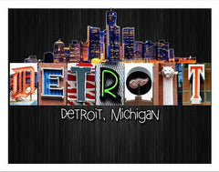 Detroit Word Art Poster Board 11x14