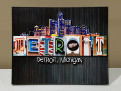 DETROIT Wood Plaque 8x10
