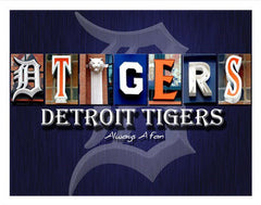 Detroit Tigers Word Art Poster Board 11x14