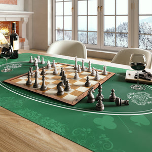 Universal tablecloth for parlor, board and card games, green, 80 x 80 cm