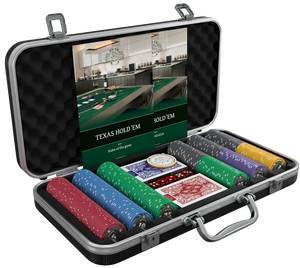"Poker case with 300 ceramic poker chips ""Silvio"" with values"