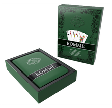Load the picture into the gallery viewer, Rummy set in artificial leather case, including plastic playing cards, rules of the game with 15 Rummy variants, short rules, pen and pad