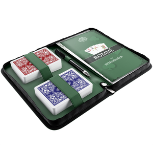 Rummy set in artificial leather case, including plastic playing cards, rules of the game with 15 Rummy variants, short rules, pen and pad