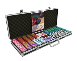 """Poker case with 500 clay poker chips """"Carmela"""" with values"""
