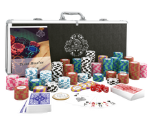 """Load the picture into the gallery viewer, poker case with 500 clay poker chips """"Carmela"""" with values"""