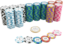 "Load the picture into the gallery viewer, Clay Poker Chips ""Carmela"" with values ​​- roll of 25"