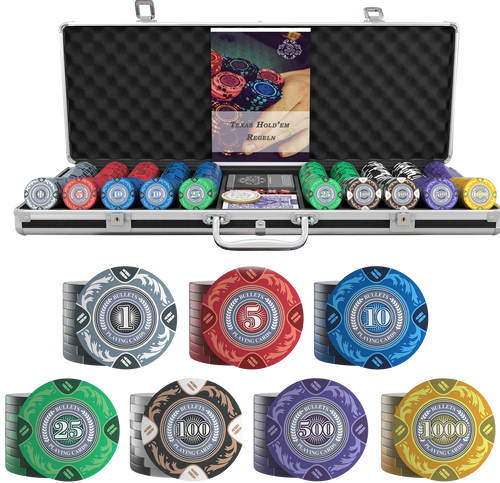 Pokerkoffer mit 500 Designer Clay Pokerchips