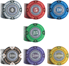 "Load the picture into the gallery viewer, Poker Chips ""Tony"" with values ​​- roll of 20"