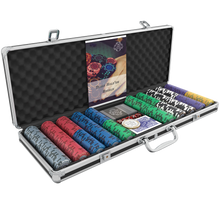 "Load the picture into the gallery viewer, poker case with 500 designer clay poker chips ""Tony"" with values"