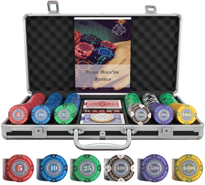 """Poker case with 300 clay poker chips """"Tony"""" with values"""
