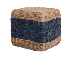 Braided Seagrass Striped Pouf