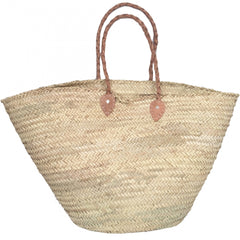 Giant Leather & Seagrass Beach Basket