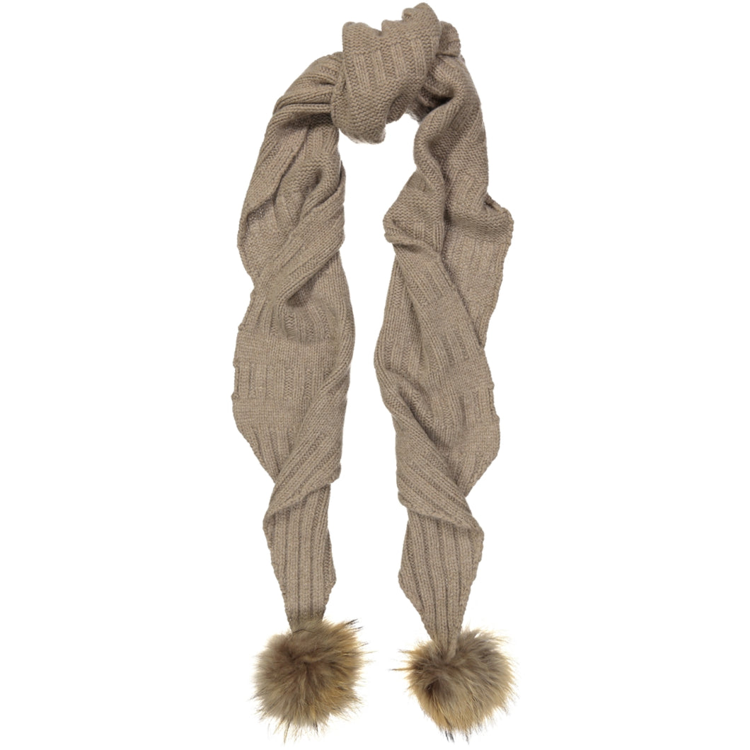 Texture Stitch Tapered Scarf With Pom Pom | Autumn Cashmere