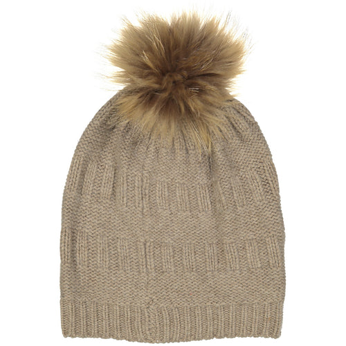 Textured Hat With Pom Pom | Autumn Cashmere