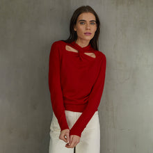 Load image into Gallery viewer, L/S Cutout Twist Neck in Red